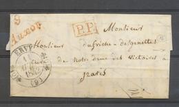 1842 Lettre Cursive 9 Auxon Rouge ° CAD T11 ERVY En PP AUBE Superbe X3407 - Marcophilie (Lettres)