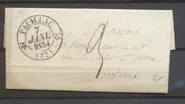 1834 Lettre CAD Type 12 1 Fleuron PAUILLAC (32) GIRONDE Superbe X3510 - Marcophilie (Lettres)