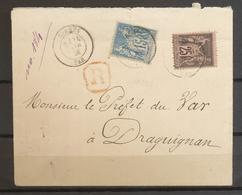 1891 Env. Sage 15c+25c En Recommandé CAD T18 BORMES VAR Pour Draguignan X3563 - Poststempel (Briefe)