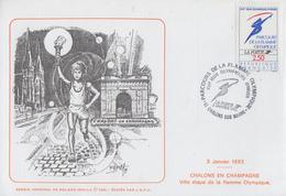 Enveloppe   FRANCE  JEUX  OLYMPIQUES  D'  HIVER    Passage  De  La   FLAMME  OLYMPIQUE   CHALONS  SUR  MARNE   1992 - Invierno 1992: Albertville