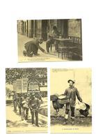 Carte Postale Paris Les Petits Métiers (75)  Repro 3 Cartes Le Ramasseur De Mégots - Les Hommes Réclame - Le Raccomodeur - Petits Métiers à Paris