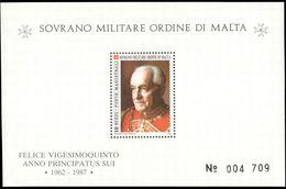 Sovereign Military Order Of Malta 1987 25th Anniversary Of The Election Of Father Mojana Souvenir Sheet Unmounted Mint. - Malte (Ordre De)