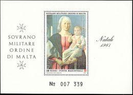 Sovereign Military Order Of Malta 1987 Madonna By Piero Della Francesca Souvenir Sheet Unmounted Mint. - Malte (Ordre De)