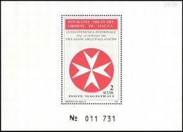 Sovereign Military Order Of Malta 1988 Eight Pointed Cross Of The Order Souvenir Sheet Unmounted Mint. - Malte (Ordre De)