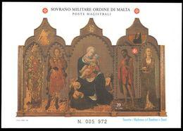 Sovereign Military Order Of Malta 1997 San Giovanni Painting Souvneir Sheet Unmounted Mint. - Malte (Ordre De)