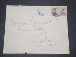 INDOCHINE - Enveloppe De Saïgon Pour Dalat En 1921 , Affranchissement Paire Surchargés - L 16394 - Indochina (1889-1945)