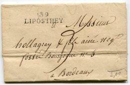 LANDES Des Forges D' YCHOUX LAC Du 18/02/1825 Avec Linéaire 38x10 De LIPOSTHEY Et Taxe De 3 Pour BORDEAUX - Storia Postale