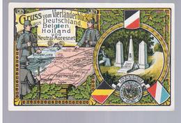 La Calamine Kelmis Neutral-Gebiet Vaals Gruss Aus Vierlanderblick Aus Neutral-Moresnet Litho Ca 1910 2 Scans - Sonstige