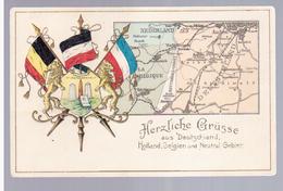 Herzliche Grusse Aus Deutschland Holland Belgien Und Neutral Gebiet Ca 1910 2 Scans - Plombières