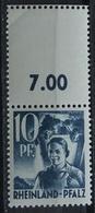 1947 Rheinland-Pfalz 10pf ** Mit Doppelzähnung  Siehe Bild (GA12 - Zone Française