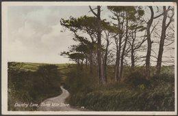 Country Lane, Three Mile Stone Near Truro, Cornwall, 1948 - RAP Co RP Postcard - England