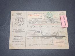 FRANCE - Colis Postal En Valeur Déclarée De Saint Louis Pour Moulins En 1927 ,affranchissement Varié Au Verso  - L 16418 - Spoorwegzegels