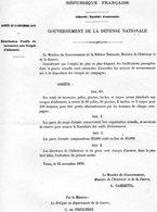 GUERRE De 1870 Decret N°48 Du 15 Novembre 1870 Distribution D'outils Aux Troupes - Decrees & Laws
