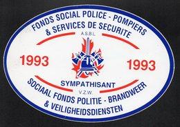FONDS SOCIAL POLICE POMPIERS SERVICES DE SECURITE 1993  -  AUTOCOLLANT N°038 - Stickers