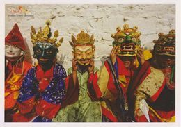 Postcard Drukair Bhutan Religious Festival Tshechu Costume Mask - 1946-....: Modern Era