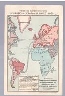 Ship Lines Between Europe And Sao Paulo Santos Pub Cafe  Landkarte MAP Litho Ca 1910 2 Scans - São Paulo