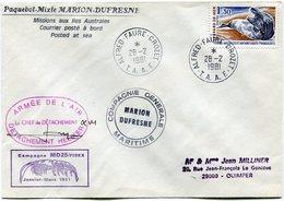"""T. A. A. F. LETTRE AVEC CACHET """"CAMPAGNE MD 25 / FIBEX..."""" DEPART PORT-AUX-FRANCAIS-KERGUELEN 3-2-1981  AVEC SIGNATURE - Cartas"""
