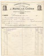 LYON - VIN - FACTURE - 1912 - MOREL - GUERIN. - 1900 – 1949