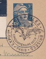 Carte Entier Postal 1947 Marianne De Gandon Clément Ader Aviation Expotion Les Ailes Brisées - Postmark Collection (Covers)