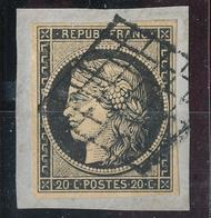 N°3 SUR FRAGMENT GRILLE 1849 - 1849-1850 Cérès