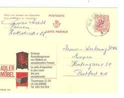 Entier CP Publibel 2201 D/F Adler Möbel C.Raeren 20/3/1968 V.Eupen Pas Courant AP2020 - Publibels