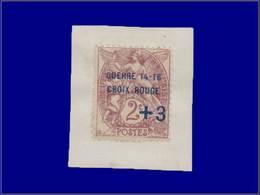 """Qualité: X – 108, Surcharge Bleue """"+3c. Croix Rouge 14 - 16"""" Sur Petit Feuillet: 2c. Blanc. (Maury 4A). Cote: 475 - Unclassified"""