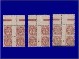 """Qualité: XX – 110, 3 Blocs De 4, Milléisme """"2 - 6 - 7"""": 4c. Blanc. Cote: 190 - Unclassified"""
