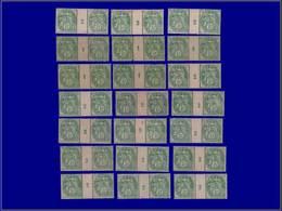"""Qualité: X – 111, Lot De 21 Paires Avec Millésime (certains XX), (5 Avec Millésime """"1""""): 5c. Blanc. Cote: 600 - Unclassified"""