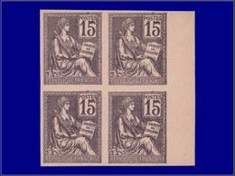 Qualité: (X) – 117, Bloc De 4, Essai Sur Carton En Violet: 15c. Mouchon. - Unclassified