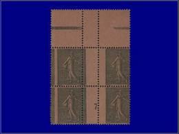 """Qualité: XX – 130, Bloc De 4, Millésime """"7"""", Papier GC, Bdf, Piquage Vertical à Cheval (25%): 15c. Lignée. Cote: 695 - Unclassified"""