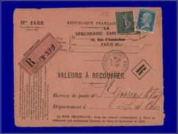 Qualité:  – 130, Type VI Sur Devant De Valeur à Recouvrer, Recommandée De Paris 30/9/24. Cote: +475 - Unclassified