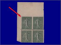 Qualité: XX – 130, Bloc De 4, Dentelés Tenant à Non Dentelés 3 Cotés. 15c. Semeuse Lignée. Cote: 930 - Unclassified