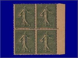 Qualité: XX – 130, Couleur Non émise Vert Sur Papier Jaune Indien, Bloc De 4, Bdf: 15c. Semeuse Lignée. (Maury 130 Ia).. - Unclassified