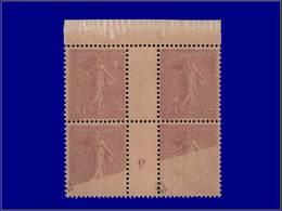 Qualité: XX – 131, Bloc De 4, Millésime 3, Impression Recto-verso, Luxe: 20c. Semeuse Lignée. Cote: 1650 - Unclassified