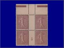 """Qualité: XX – 131, Bloc De 4, Bdf, Millésime """"5"""", Luxe: 20c. Semeuse Lignée. Cote: +940 - Unclassified"""