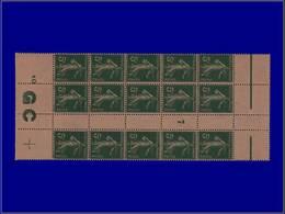 """Qualité: XX – 137, Bloc De 15, Millésime """"7"""", Manchette GC Chamois: 5c. Vert Semeuse. Cote: 90 - Unclassified"""