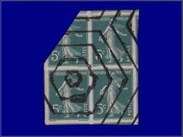 Qualité: O – 137, Bloc De 4, Non Dentelé, Para-oblitéré Hexagones: 5c. Vert Semeuse. - Unclassified