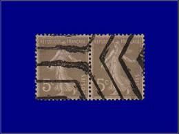 Qualité: O – 137, Couleur Non émise, Gris, En Paire, Para-oblitéré Hexagones: 5c. Semeuse. - Unclassified