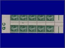 """Qualité: XX – 137, Bloc De 10, Millésime """"8"""", Manchette GC, Piquage à Cheval: 5c. Vert Semeuse. Cote: 300 - Unclassified"""