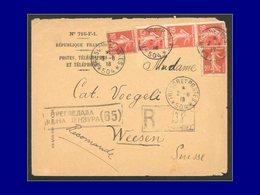 """Qualité:  – 138 (x5), Sur Enveloppe Rec. Cad. """"Tresor & Postes 504 - 2/8/8"""". (Mission Militaire Serbe à Salonique). - Unclassified"""