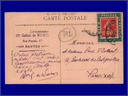 """Qualité:  – 138, Sur Porte Timbre Vert """"Dieu Protège La France"""", Sur Cp, Nantes 10/1/11. - Unclassified"""