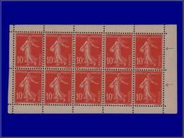 Qualité: XX – 138, Type Ic, Feuille De Carnet: 10c. Rouge Semeuse. Cote: 700 - Unclassified