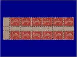 """Qualité: XX – 138, Bloc De 12 De Roulette, Bdf, Millésime """"5"""": 10c. Rouge Semeuse. Cote: 550 - Unclassified"""
