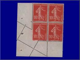 Qualité: XX – 138, Bloc De 4, Bdf, Piquage Diagonal, En Partie Non Dentelé: 10c. Rouge Semeuse. - Unclassified