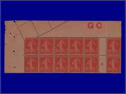 """Qualité: XX – 138, Bloc De 12, Papier GC, Millésime """"6"""" Avec Manchette GC + Piquage Diagonal Non Dentelé Un Coté En Marg - Unclassified"""