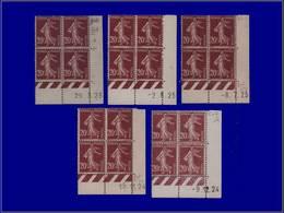 Qualité: XX – 139, 5 Blocs De 4, Cd Différents 1923/25: 20c. Semeuse. Cote: 285 - Unclassified