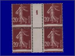 """Qualité: XX – 139, Bloc De 4, Millésime """"1"""", Piquage Horizontal à Cheval: 20c. Brun Semeuse. Cote: +240 - Unclassified"""