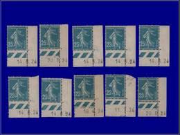 Qualité: X – 140, 10 Exemplaires Tous Avec Coins Datés 1924/26: 25c. Semeuse. - Unclassified