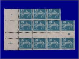 """Qualité: XX – 140, Bloc De 11, Millésime """"0"""" (1920), Piquage Vertical Déplacé: 0.25 Semeuse. - Unclassified"""