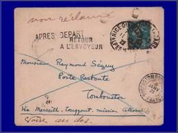 Qualité:  – 140, Sur Enveloppe 11/12/22 Nice Pour Tombouctou Via Marseille/Touggourt (croisière Citroen) Non Réclamé. - Unclassified